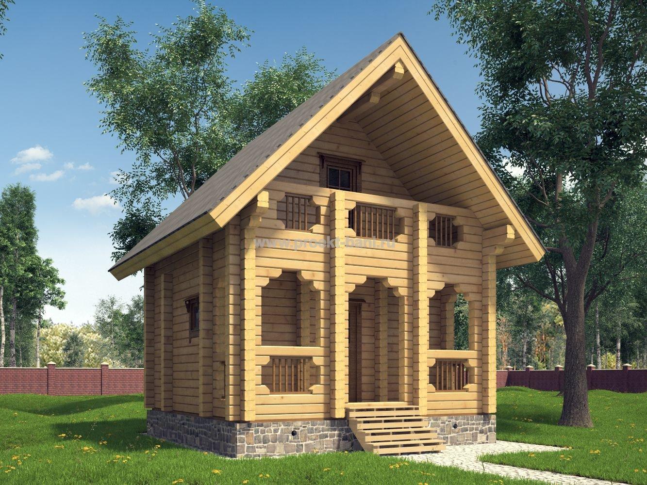 Проекты бань с мансардой (76 фото): дом-баня с верандой или террасой размером 6х6 и 6х8, варианты из бруса и бревна 6 на 4 и 5 на 8