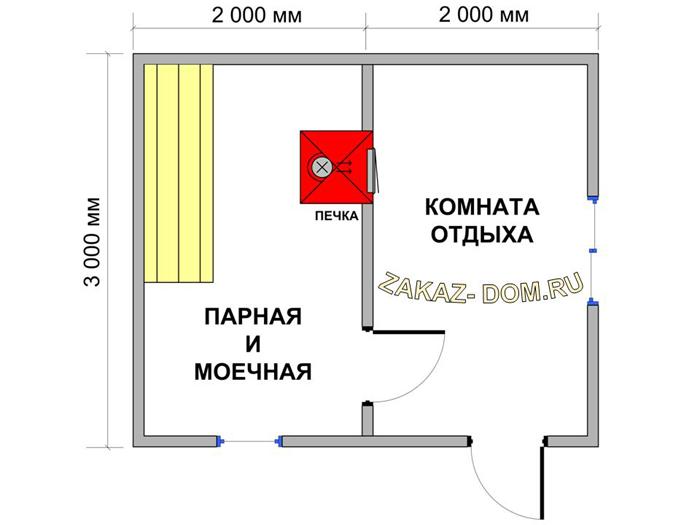 Баня 3 на 3 планировка внутри: фото и особенности проектов