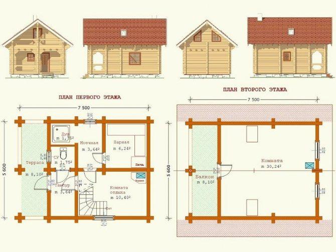 Особенности планировки бани с мансардой размером 3 на 6 м