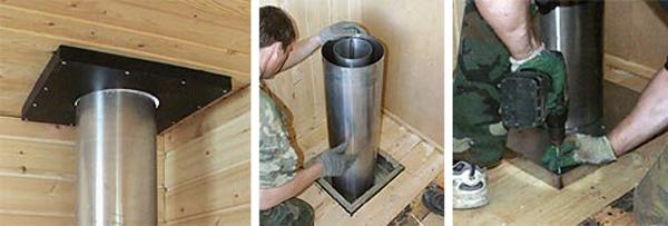 Как вывести трубу из бани через потолок своими руками