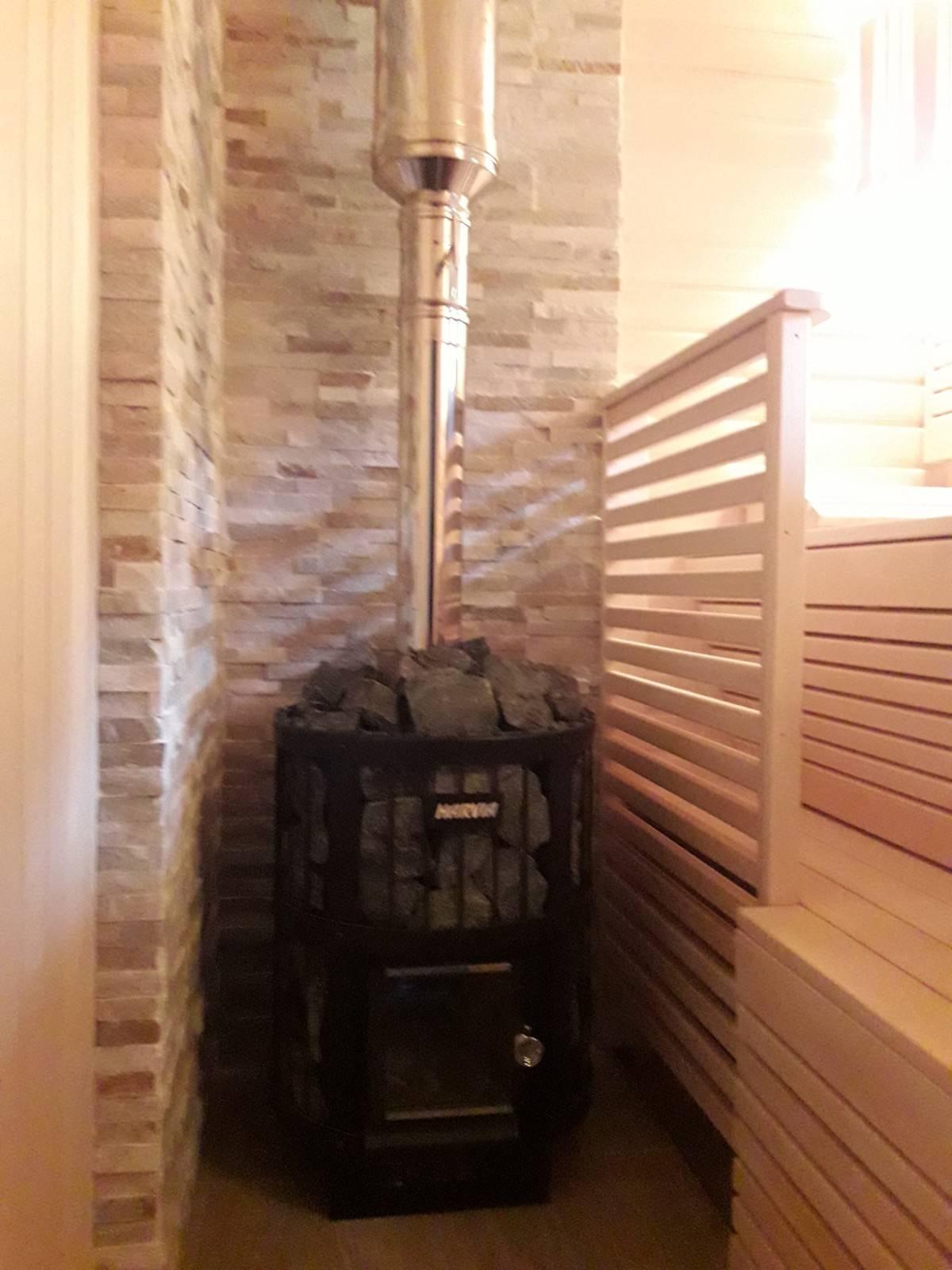 Установка печи в баню с выносной топкой, фото