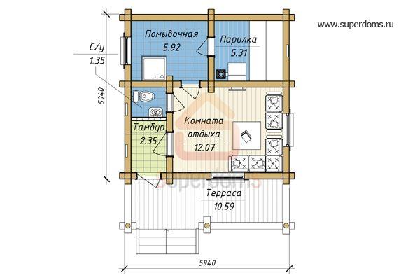 Бани 6х6: тонкости планировки и готовые проекты