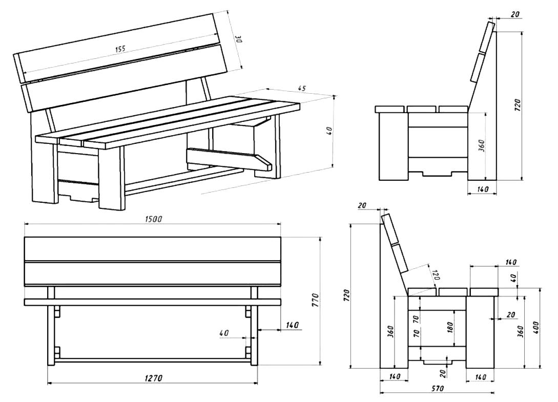 Садовая скамейка из дерева со спинкой своими руками: чертежи, размеры