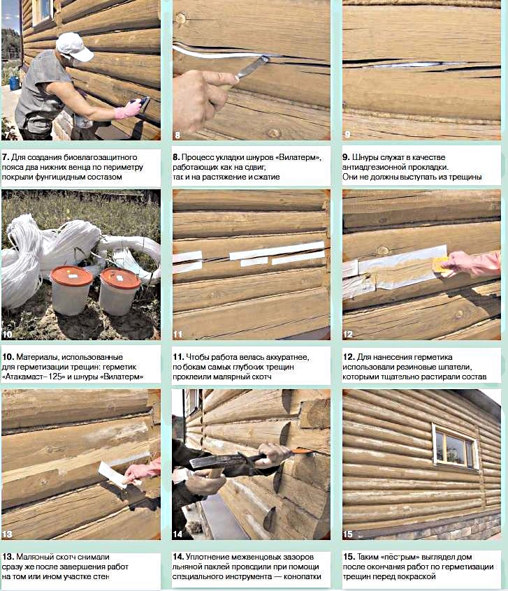 Чем заделать трещины в брусе: материалы для внутренних и наружных работ, достоинства и недостатки