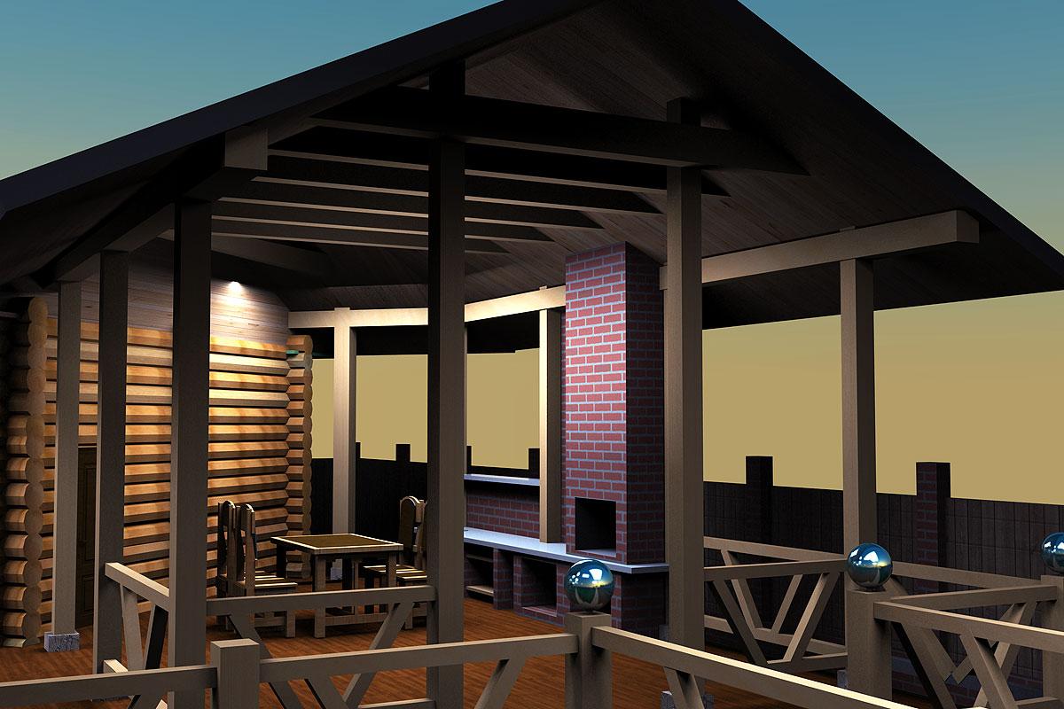 Баня с террасой: проект угловой бани с верандой и зоной барбекю с мангалом, комната отдыха с навесом над площадкой у сауны