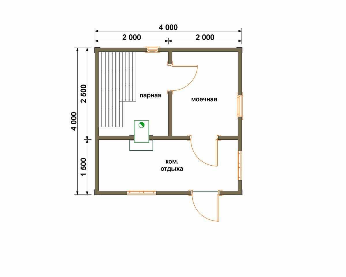 Проекты бань 4 на 4: особенности, планировки и преимущества   построить баню ру