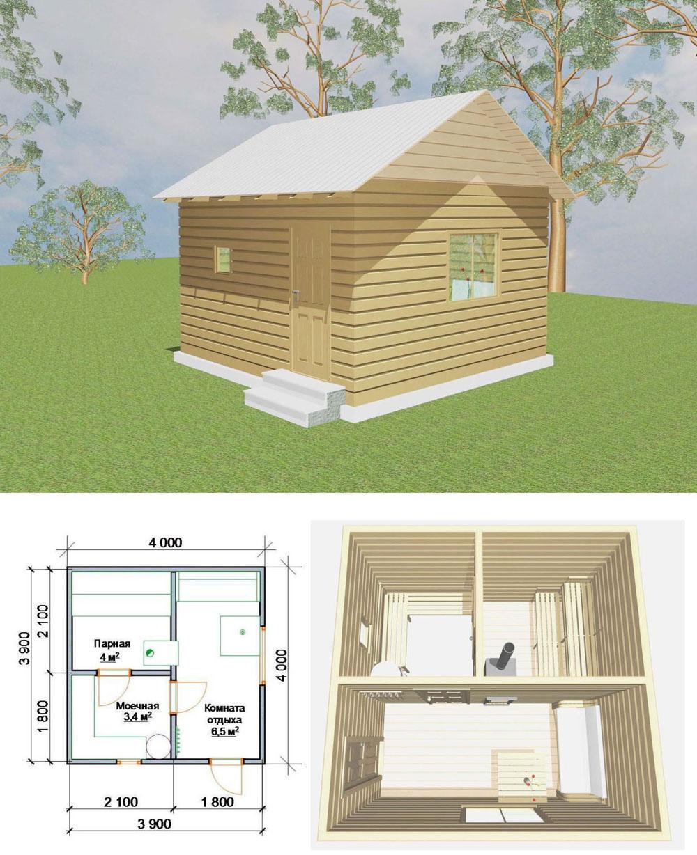 Баня 4 на 4 планировка внутри, фото, чертежи