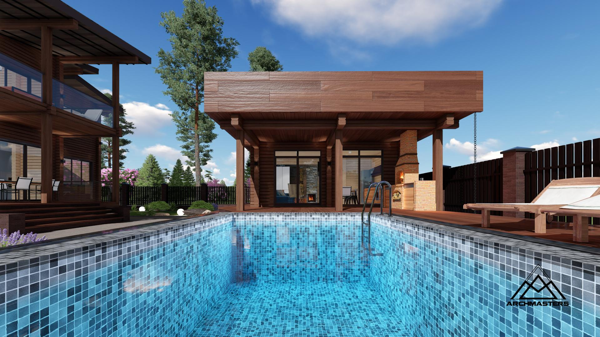 Постройка с размахом: проект бани с бассейном