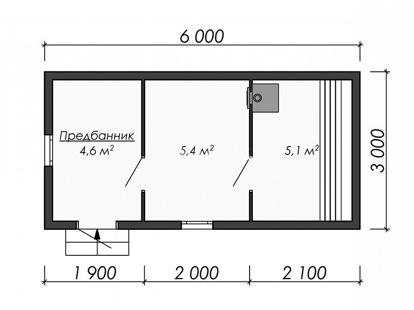Варианты проектов бани размером 6 на 3 м