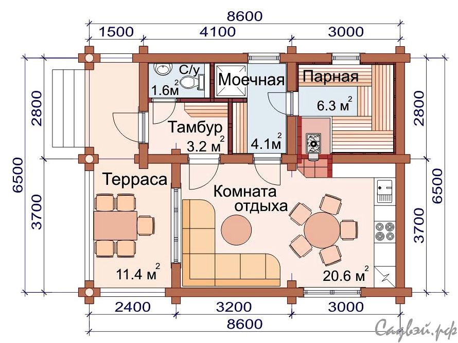 Проекты бань с комнатой отдыха - обзор вариантов