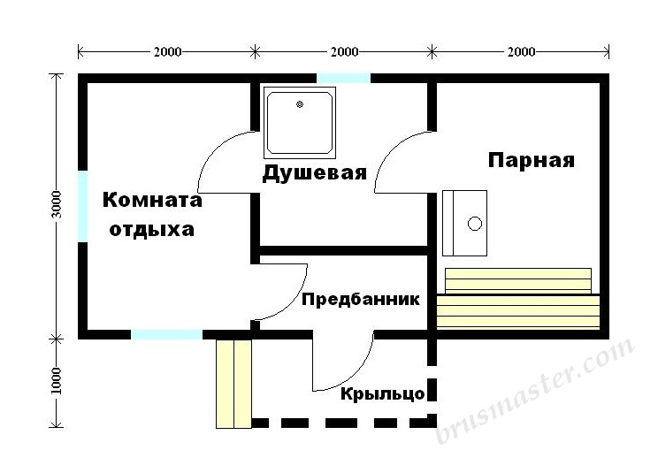 Баня из бруса 6 на 3: проекты, варианты планировки и фото   построить баню ру