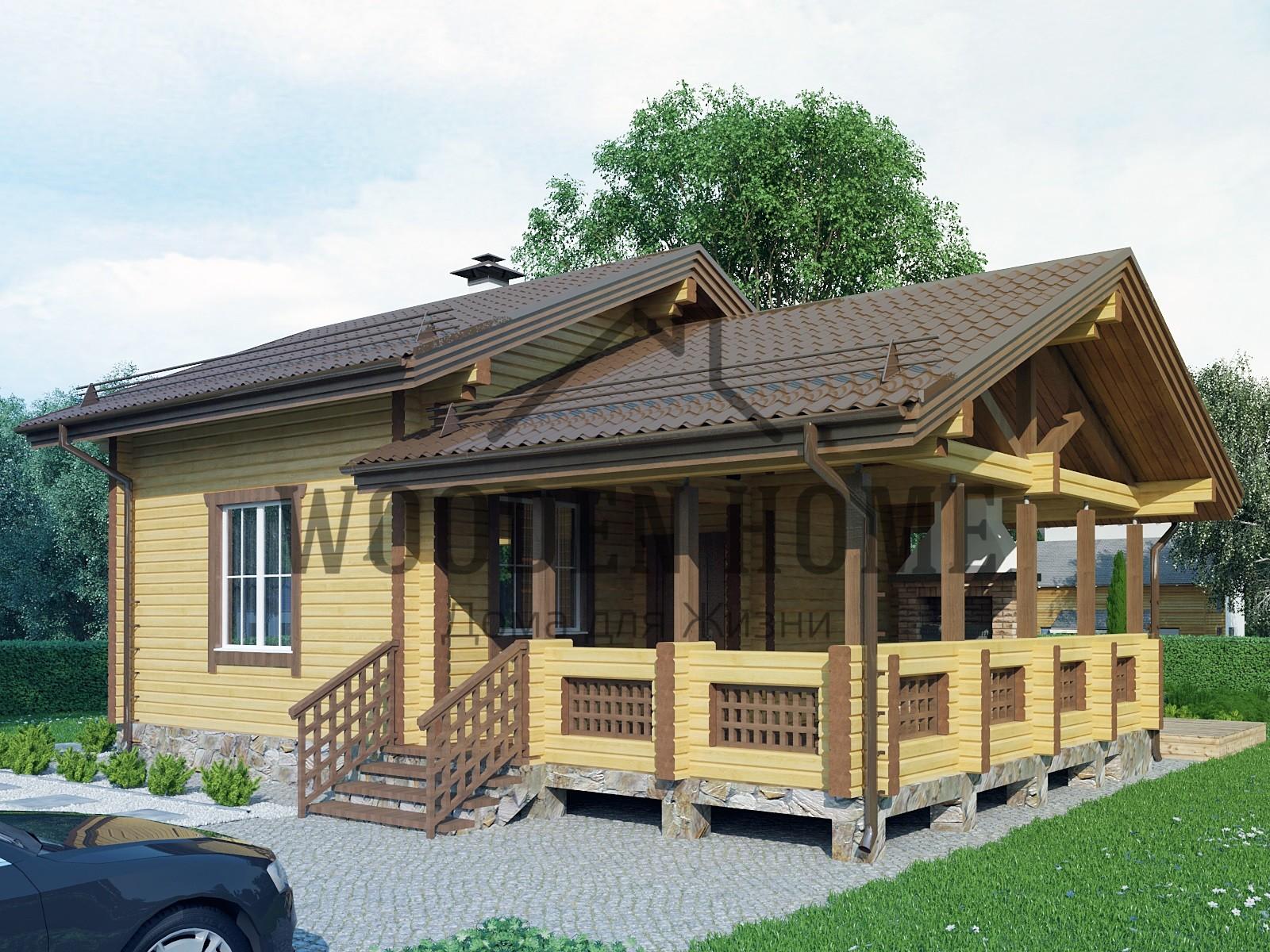 Одноэтажные бани с верандой